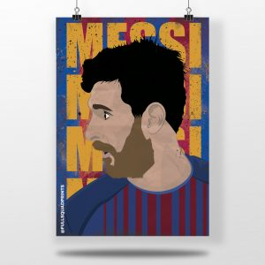 Lionel Messi – fc Barcelona – Illustrated wall art football poster