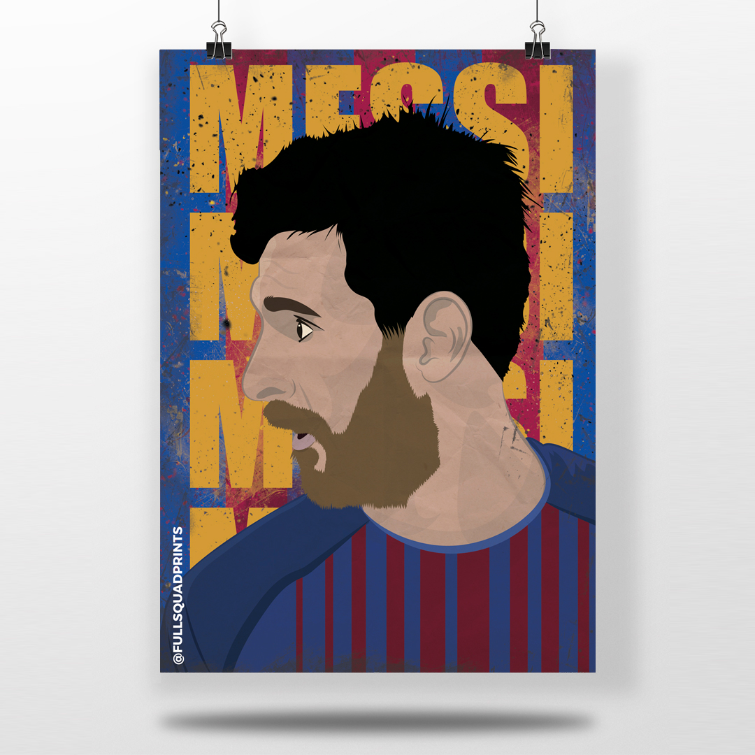 76c65493a Lionel Messi - fc Barcelona - Illustrated wall art football poster -  Football Gifts, Football Posters & Personalised Football Prints | Full  Squad Prints