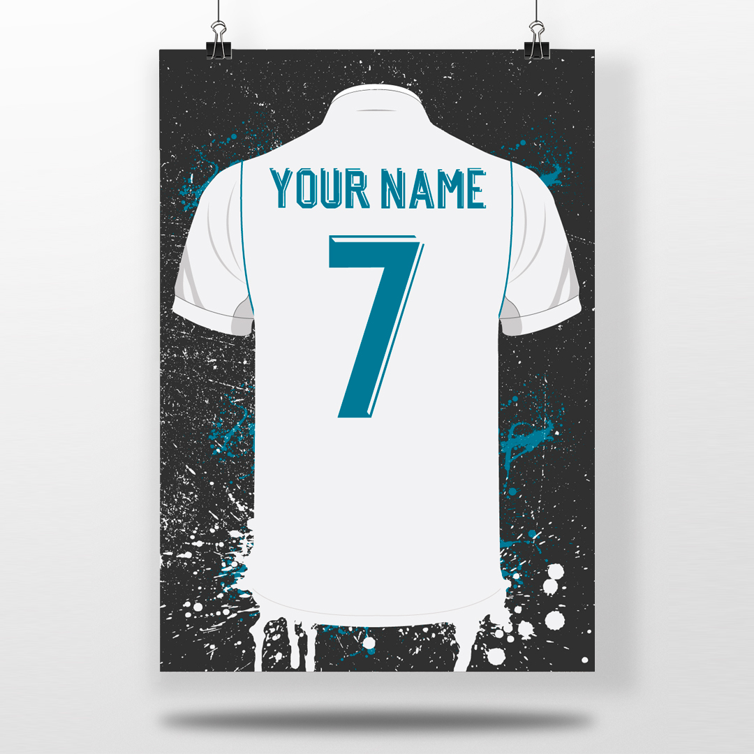 reputable site 4642f 257fe Real Madrid Home Shirt - Personalised Football Shirt Poster