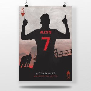 Alexis Sanchez Manchester United Football Poster.