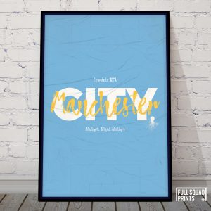 Man City Football Poster Wall Art