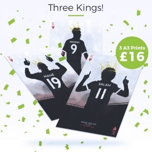 3 for £16 Liverpool football prints – Salah, Mane, Firmino